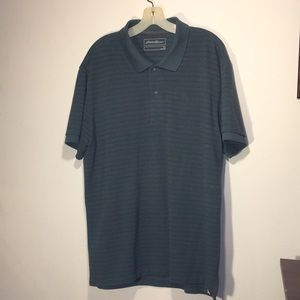 Eddie Bauer XL Polo Shirt Dark Green Gray Stripes